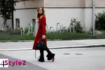 4STYLEZ4U –  Faux leather coat with flared trousers